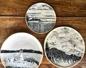 Reserved For Eliza:  Handmade Hand Illustrated Landscape Porcelain 2 Platters and One Plate