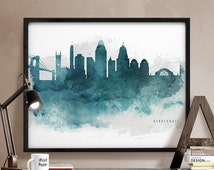 cincinnati print cincinnati skyline cincinnati poster ohio watercolor print wall art