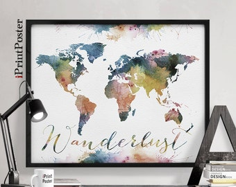 Wanderlust print, world map art,  world map poster, world map print, Travel map, Wall art, Home Decor, Art prints, iPrintPoster