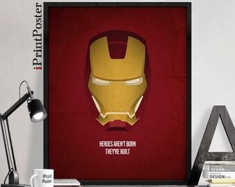 Iron Man helmet, Avengers, Iron Man print, Tony Stark, Marvel comics, wall art, art print, wall decor, home decor, men's gift, iPrintPoster
