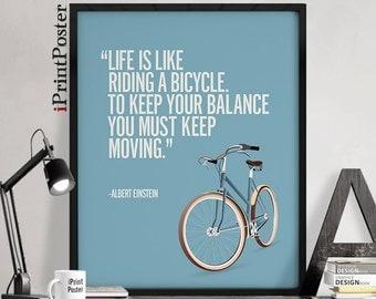 """Albert Einstein print, Einstein poster, Einstein quote, """"Life is like riding ..."""", Inspirational print, Typography art print, iPrintPoster."""