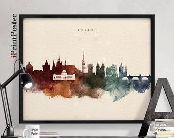 Prague poster, Wall art, Prague print, Czech republic cityscape, Prague watercolour skyline, Travel poster, Home decor, iPrintPoster