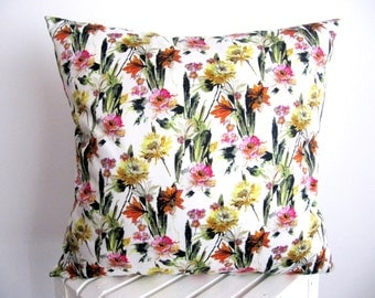 Floral Pillow Cover Cotton Satin Pillow Case Naturalists Pillow Cover Cushion Cover Decorative Pillow Cover Accent  Throw Pillow 18x 18