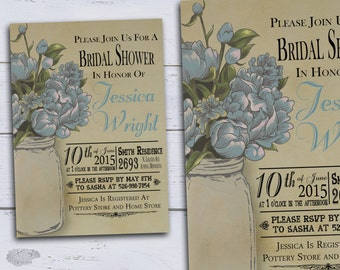 Rustic Bridal Shower Invitations, Printable Mason Jar Wedding Shower, Spring Wedding Shower, DIY Country Bridal Shower Invites, Blue Peonies