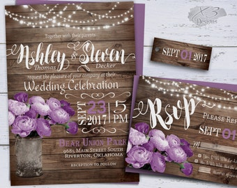 Printable Wedding Invitation, Summer Wedding Invitations, DIY Rustic Wedding Invitation Floral Spring Wedding Invites Lavender String Lights
