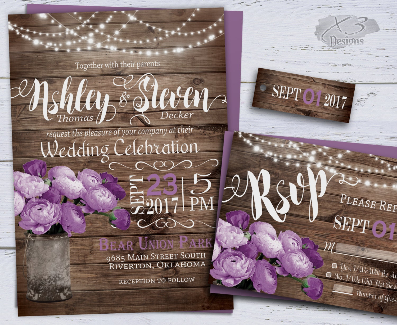 Country Rustic Wedding Invitations: Printable Wedding Invitation Summer Wedding Invitations DIY