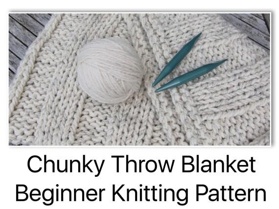 Chunky Bulky Throw Blanket Beginner Knitting Pattern With