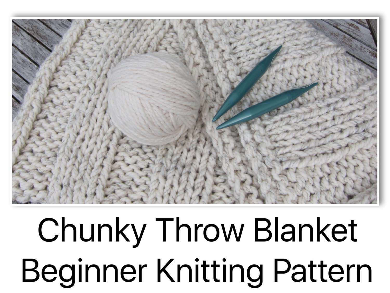 Chunky Bulky Throw Blanket Beginner Knitting Pattern With
