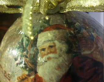 Vintage Decoupage Santa Ball Christmas Ornament, Large Ball Ornament