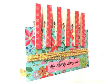 6 Red Decoupaged Pegs and Twine