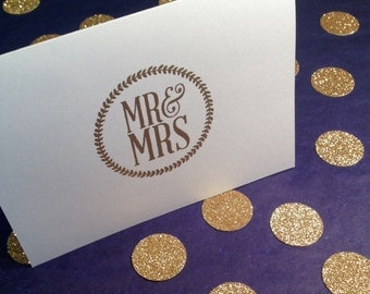 Wedding/Mr and Mrs/Wedding Party/Thank You Note Cards and Envelopes - Gold and White - Set of 8