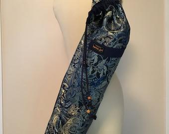 Yoga Mat Bag - navy paisley