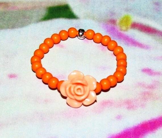 Items Similar To Orange Doll Bracelet Peach Color Rose