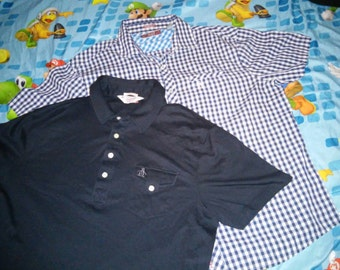 2 PENGUIN MUNSINGWEAR SHIRTS polo and button up both same size