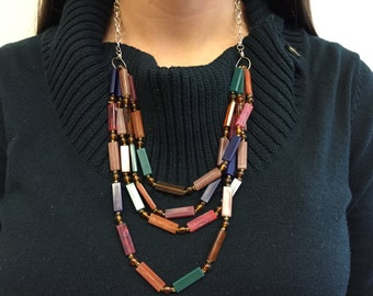 Mulitcolored Repurposed Vintage Beaded Necklace