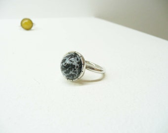 Asjutable silver ring BIG stone