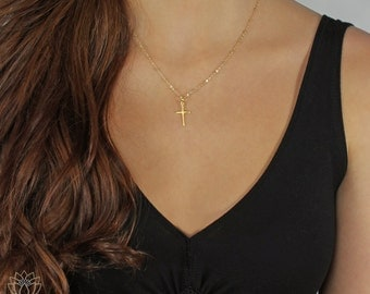 Gold Cross, Gold Cross Necklace, Small Gold Cross, Tiny Gold Cross, Delicate Gold Cross, Silver Cross, Rose Gold Cross, LC149G