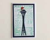 Blue & Green Seattle Sayings Christmas Cards | Buy Any 4 Cards, Get 1 FREE