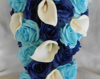 Royal blue and Malibu silk cascade wedding bridal bouquet 17 pices
