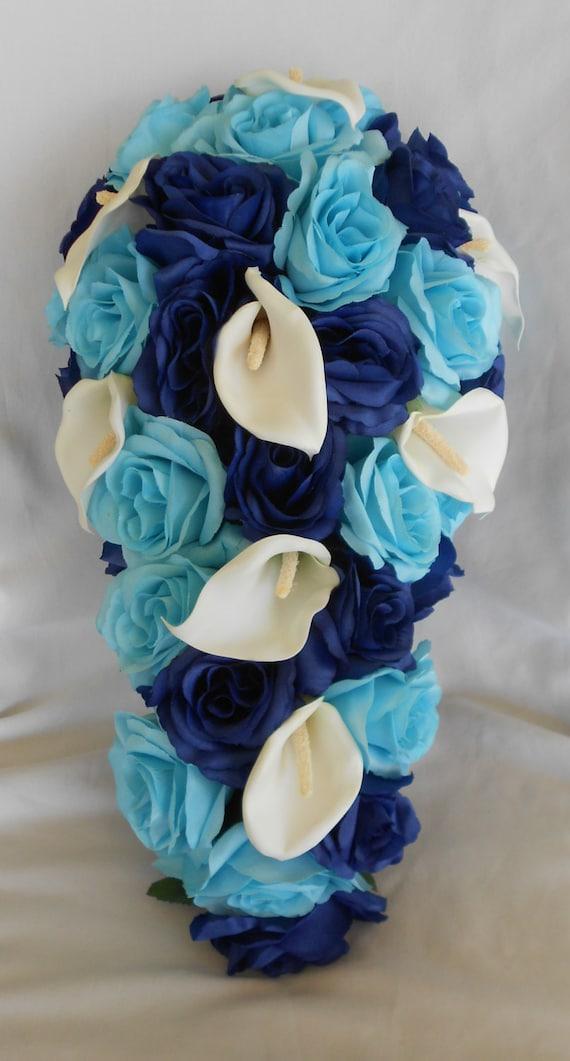 Royal blue and Malibu silk cascade wedding bridal bouquet
