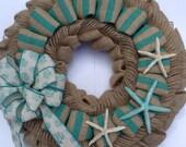 Summer SALE! Nautical Wreath, Trendy Burlap Wreath, Summer Wreath, Starfish Wreath, Turquoise, Gift for Her, Beach Decor, Beach House Wreath