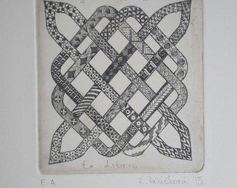 zentangle, etching on zink plate, free for ex libris
