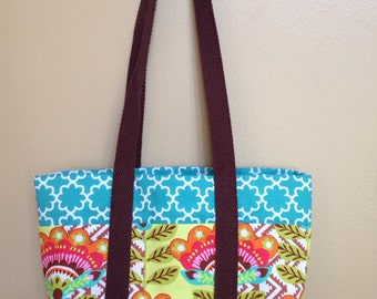 Handmade purse with pockets, colorful handbag, medium market tote, reusable lunch bag, summer birthday present for her