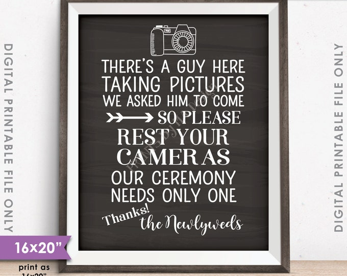 """Unplugged Wedding Sign, No Cameras at the Ceremony Sign, Only One Photographer, 16x20"""" Chalkboard Style Instant Download Digital Printable"""