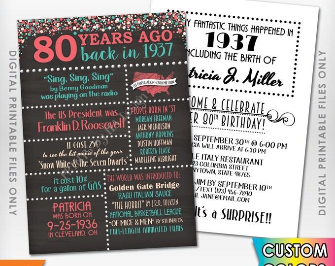 "80th Birthday Invitation 1937 Invite, Born 80 Years Ago in 1937 Birth, Flashback 80 Years Invite, 5x7"" Chalkboard Style Digital Printables"