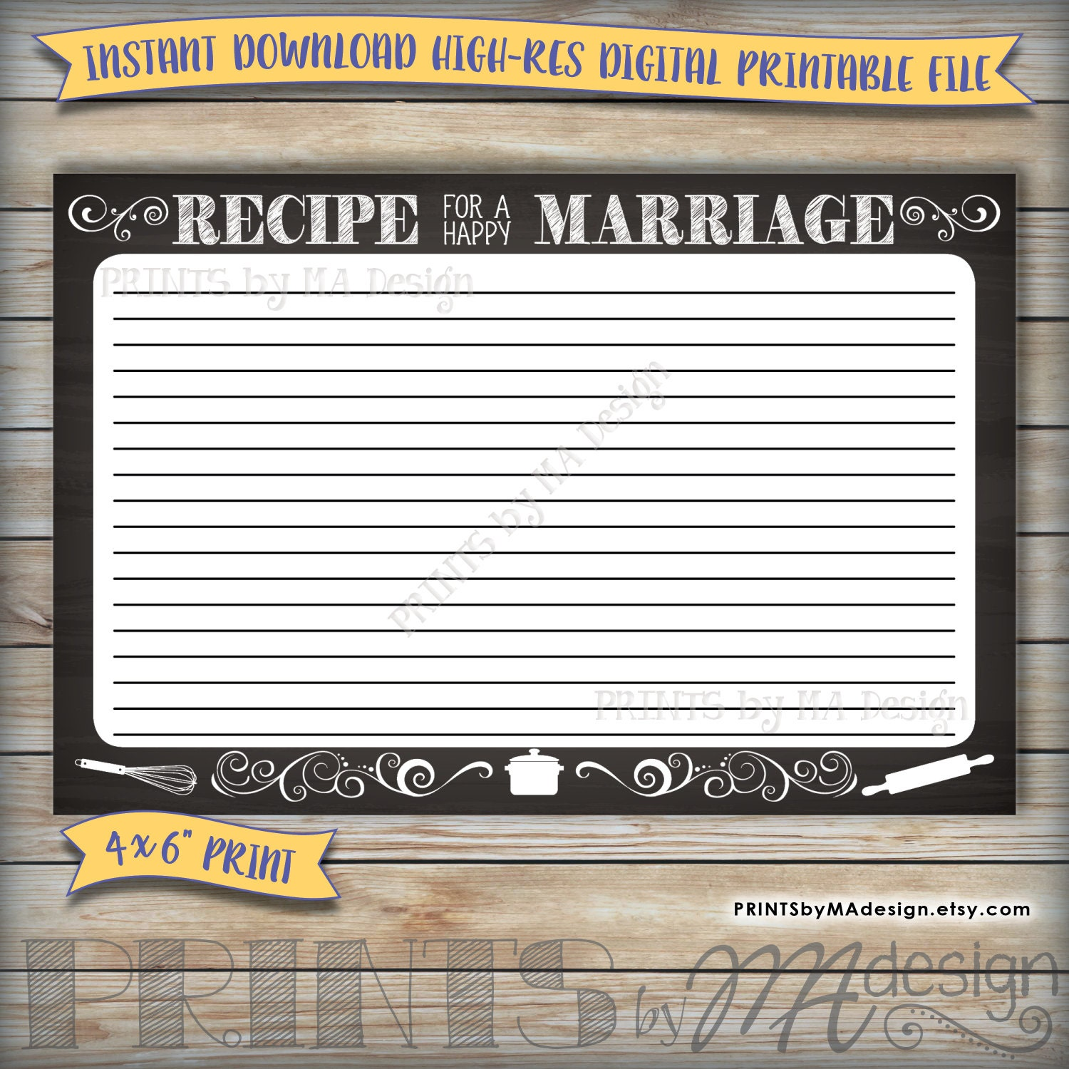 recipe for a happy marriage advice card printable chalkboard