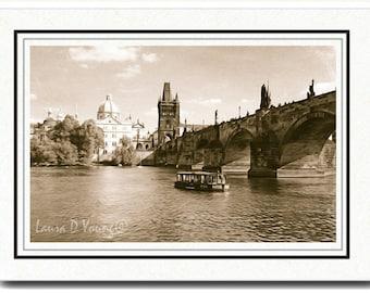 Photo Greeting Card, Photo Note Card, Prague Travel, Charles Bridge, All Occasion Card, Sepia Tone, Handmade Card, 5x7 Blank Card, Fine Art