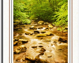 Photo Greetings Card, Photo Note Card, Great Smokies, Mountain Stream in Woods, All Occasion Card, Handmade Card, 5x7 Blank Card, Fine Art