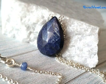 Blue Sapphire Necklace, Large Natural Blue Sapphire, Sterling Silver Jewelry, September Birthstone, Gemstone Necklace