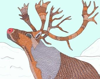 Reindeer art Christmas card