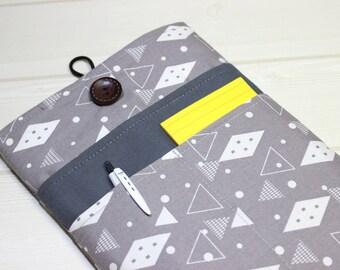 unique kindle sleeve, gray iPad mini case, gray tablet sleeve, iPad mini sleeve, iPad mini4 case, geometric iPad case, 8 inch tablet sleeve