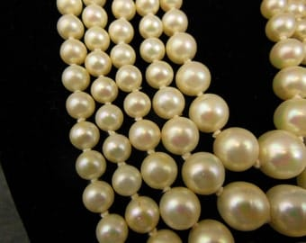 Classic Simulated Pearl Necklace 5-Strand - 1940s