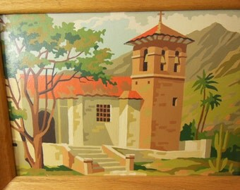 Vintage Paint By Number Paintings - Pair - Southwest Mission - Beautiful Natural Wood Frames
