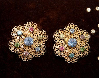 Earrings filigree colored rhinestones clip on earrings