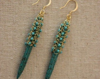 Woven lace turquiose spike Earring