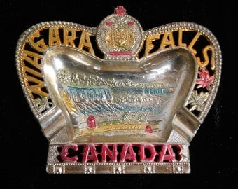 Vintage 1940's Canada Niagara Falls Tin Metal Colored Ashtray