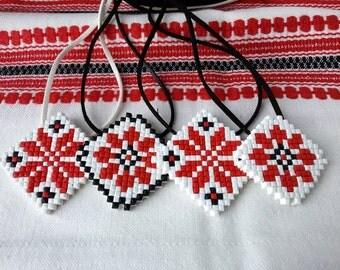 traditional Ukrainian ethnics pendant jewelry red black white tribal necklace rhombus shape ukraine ethnic style gift fashion mosaic