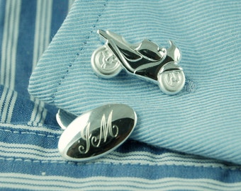 Personalised Motorcycle Cufflinks ~ Engraved Wedding, Anniversary, Birthday, Father's Day Gift