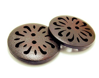 15pcs Painted Buttons Round Chrysanthemum Flower Button Wood Sewing Buttons 25mm b13
