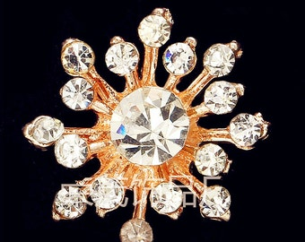 10pcs Rhinestone Buttons Brooch Gold Crystal Button Flatback Flower Embellishment Bouquet Napkin Ring Hair Clip Invitation Supply R07