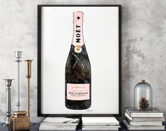 Champagne Bottle art Print, Pink Champagne, Watercolor, French Wall Art, Vanity Art, fashion illustration, Glam, Pink, Black, glamours, gift