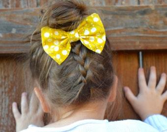 Mustard Floral Print Bow (barrette, bow tie, headband, dog collar clip)