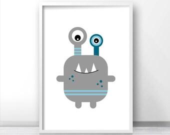 Monster Nursery Print, Blue and Gray, Nursery Art Print, Gray Nursery Decor, Monster Wall Art Print, Boys Room Print, Childrens Art, Boy Art