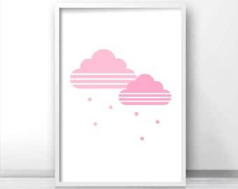 Pink Cloud Nursery Print, Nursery Wall Art, Printable Nursery Art Print, Pink Nursery Decor, Baby Print, Wall Art For Girls, Baby Girl Art