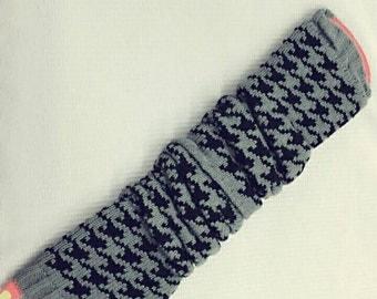 Gray and black check Fingerless  Gloves