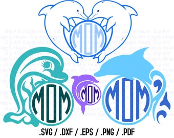 Dolphin Clip Art, SVG Monogram Clipart, SVG Tropical Art, DXF File for Vinyl Cutter, Screen Printing, Silhouette Die Cut Machine - CA278